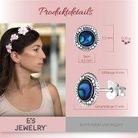 EYS JEWELRY Damen Ohrringe rund Abalone Paua Muschel 925 Sterling Silber oxidiert 8 mm Ohrstecker Damenohrringe Damenohrstecker