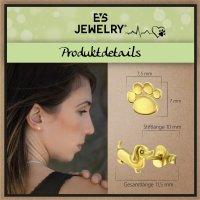 EYS JEWELRY Damen Ohrringe Hunde Pfoten 925 Sterling Silber vergoldet Hund Ohrstecker Damenohrringe Damenohrstecker