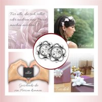 EYS JEWELRY Damen Ohrringe Blume Blüte 925 Sterling Silber oxidiert Glitzer Kristalle 7 mm Ohrstecker Damenohrringe Damenohrstecker